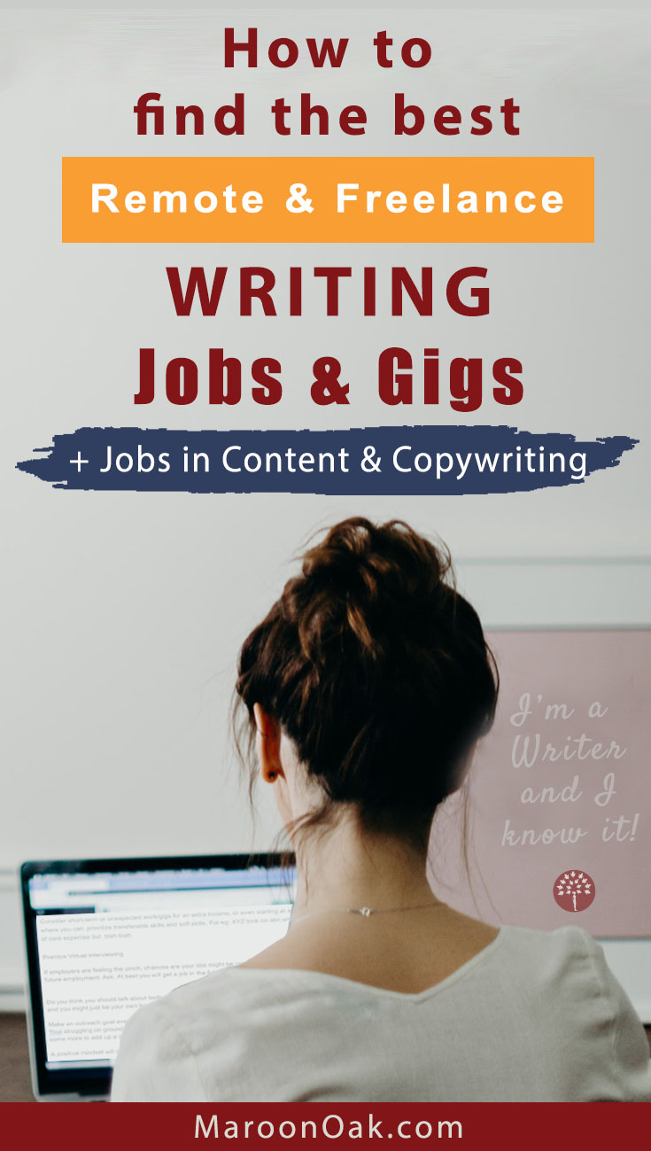 Looking to work as a writer? Find the right kind of freelance and remote writing jobs in content creation, copywriting, editorial & blogging #freelancewritingjob #onlinewritingjobs #blogger