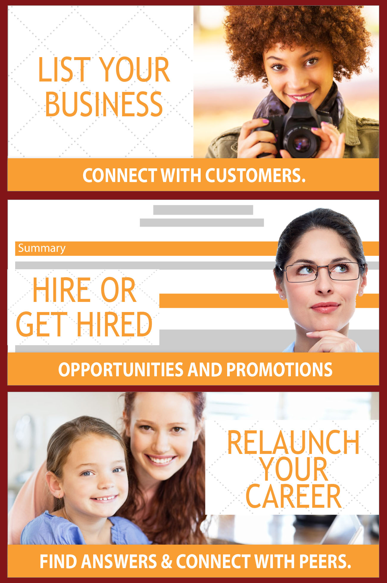List your business, hire or get hired, relaunch your career