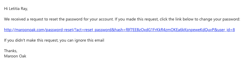 Email for Password Reset