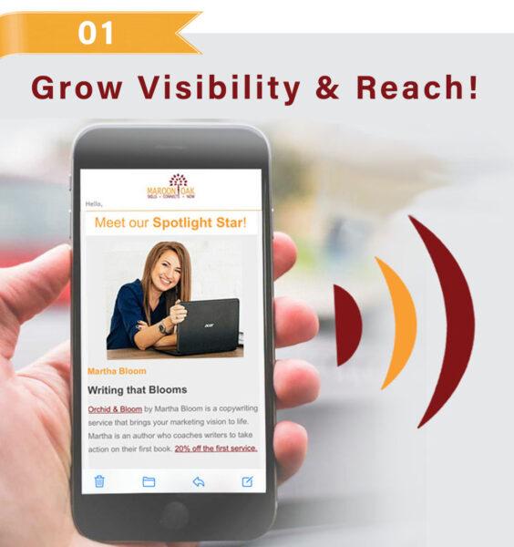 Grow brand visibility & reach- Maroon Oak newsletter spotlight feature!